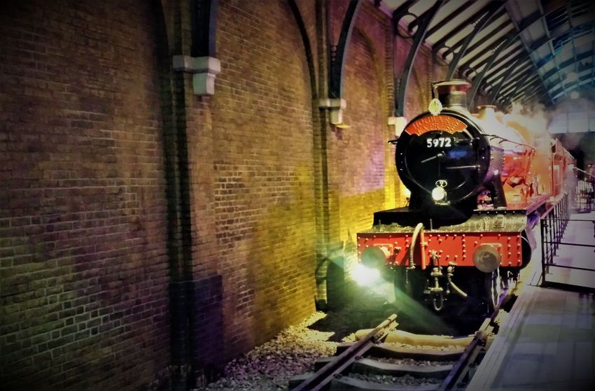 """Here is a (Colour) Photo shot of the Hogwart Express which is located at London's Warner Studios Attraction """"The Making of Harry Potter"""". This photo was taken in January 2016 in Leavesden - Watford - London - United Kingdom. 2016 Architecture Harry Potter Harry Potter Studios Harry Potter ⚡ Hogwarts Express Indoors  Locomotive London Night No People Outdoors Public Transportation Rail Transportation Railroad Track Steam Locomotive Steam Train The Making Of Harry Potter Train - Vehicle Transportation Travel And Tourism Travel Destination Travel Destinations Travel Photography Travelphotography"""