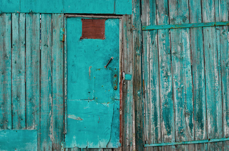 Full frame shot of blue closed door