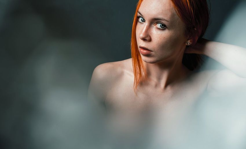 Portrait Of Naked Young Redhead Woman