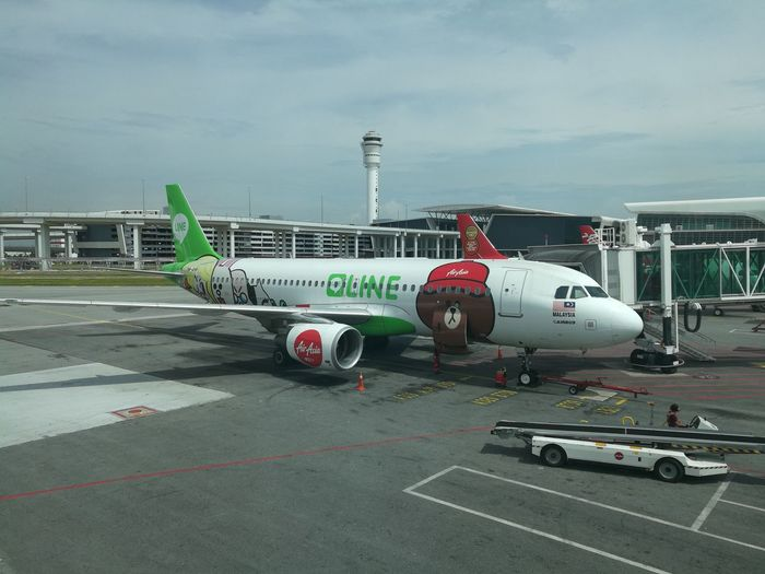 Line plane design air asia Airplane Airport Runway Transportation Airport No People LINE Air Asia