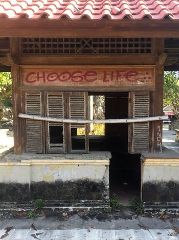 Choose life. Abandoned Park Abandonedplaces Asian Style Asian Building Asian Architecture Graffiti Slogan Denpasar Taman Festival Bali Derelict & Abandoned Derelict Building Derelict Abandon_seekers Abandoned & Derelict Abandoned Buildings Abandoned Places Abandoned Choose Life Architecture Text Built Structure Day Communication Outdoors Building Exterior No People EyeEm Ready   EyeEmNewHere