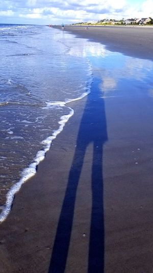 Me And My Shadow Reflection Clouds Clouds Reflection Beach Ocean Beach Photography Waves Hilton Head Island, SC Standing On The Beach Water Shadow Sunlight Sky Wave Surf Shore Sand