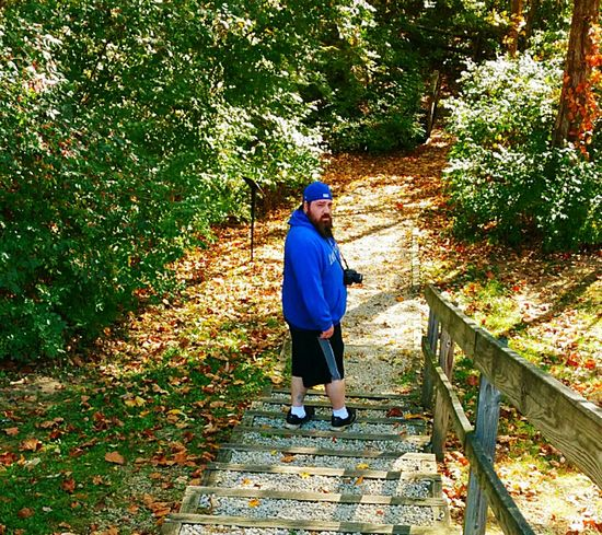 I'm at Caesar Creek State Park about to hike the Horseshoe Waterfall Trail. Got my Fujifilm and got my Snapple Tea. Stairs Trees And Leaves Nature Photography Nature_collection