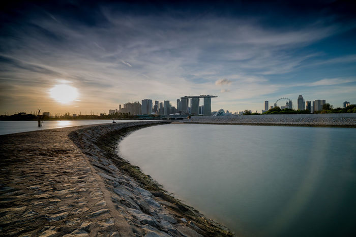 Architecture Beach Building Exterior City Cityscape Cloud - Sky Curves And Lines Downtown District EyeEm Gallery For Love Of Photography Illuminated Landscape Modern Night No People Outdoors Sea Singapore Sky Skyscraper Tree Urban Skyline Water