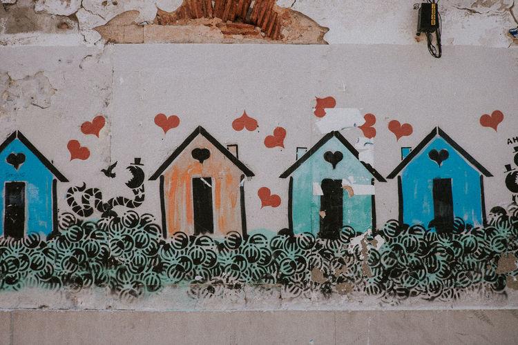 Capitalism Crisis Critics Euro Financial Graffiti Heart Hearts Houses Urban Art