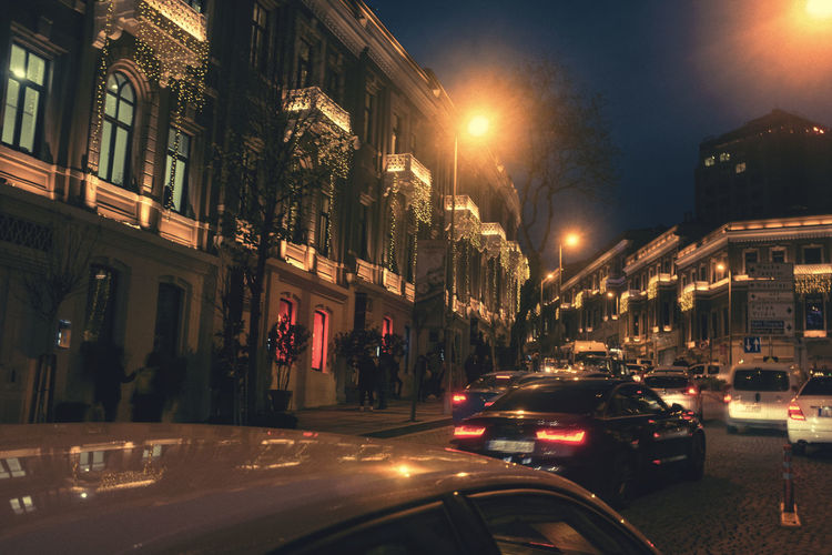 City Illuminated Building Exterior Architecture Street Night Car Motor Vehicle Transportation Mode Of Transportation Built Structure Land Vehicle Building Road Street Light City Life Motion on the move Residential District City Street Busy Nightlife Night Life Night Lights Istanbul