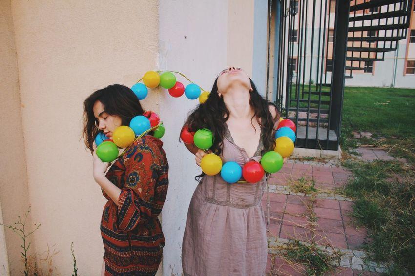 Living is fun! Multi Colored Balloon Women Celebration Females Girls Happiness Lifestyles Fun