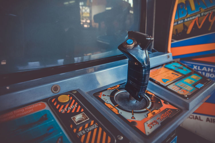 Close-up of video game joystick