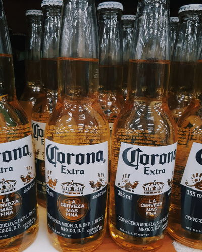 beer.. Corona Communication Text Arrangement Bottle Close-up Food And Drink Alcoholic Drink Beer Beer Glass