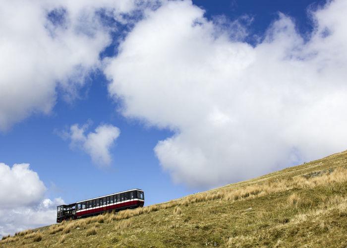 Snowdon Railway Snowdonia National Park Snowdon Snowdon Mountain Railway Mountain Blue Wave Blue Sky Train Railway