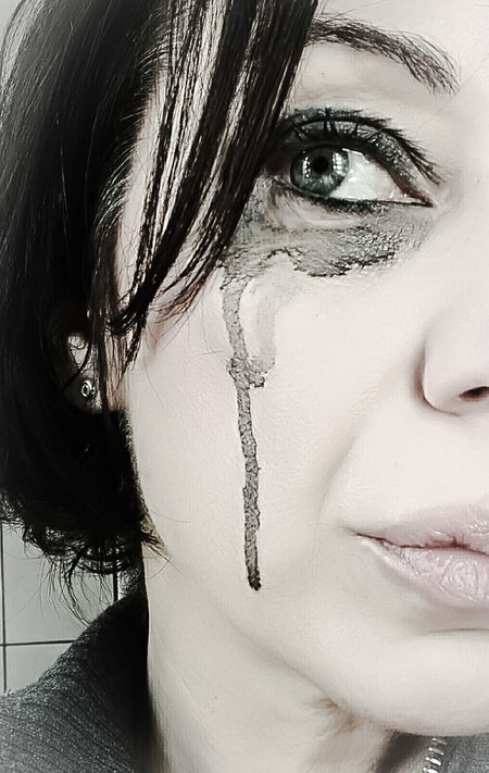 One Woman Only Portrait Close-up Human Face Emotional Emotion Crying Eye Smudged Makeup Messy Eye Makeup Eye After Crying One Person Woman Woman Portrait Emotion Photography Emotional Photography