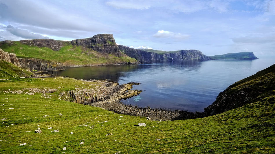 Glendale Scotland Beauty In Nature Cliff Day Grass Green Color Landscape Mountain Nature No People Outdoors Rock - Object Scenics Sea Sky Skye Island Tranquil Scene Tranquility Water