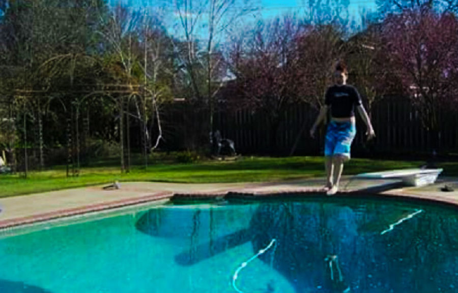 Outdoors Mid-air Reflection Jumping Swimming Pool Diving Board Blue Spring Daytime Feet First Adventure Club