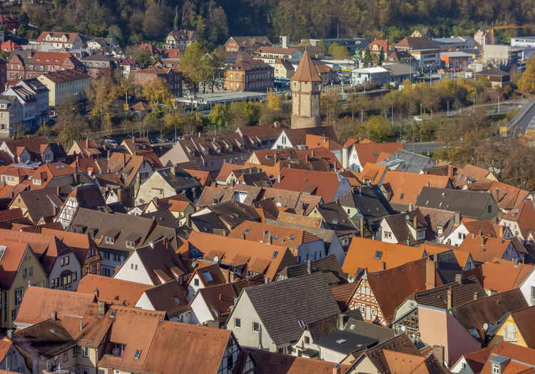 High angle view of townscape and houses in city
