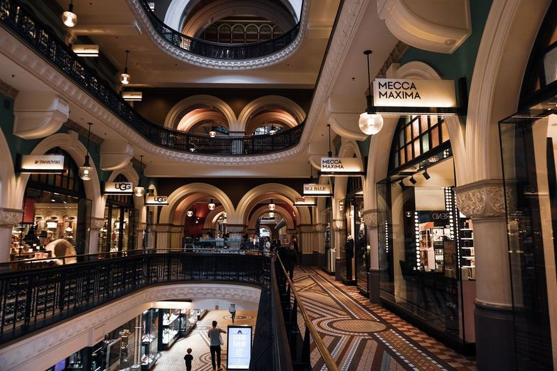 Classy environment. Queen Victoria Building Australia Art Sydney Shopping Mall Architecture Built Structure Rail Transportation Indoors  Arch Illuminated Railroad Station Travel Building Sign Track