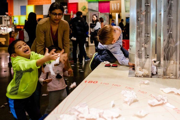 Paper up the chute pure delight when it rains down. Childhood Ontariosciencecentre Fujifilm Toronto