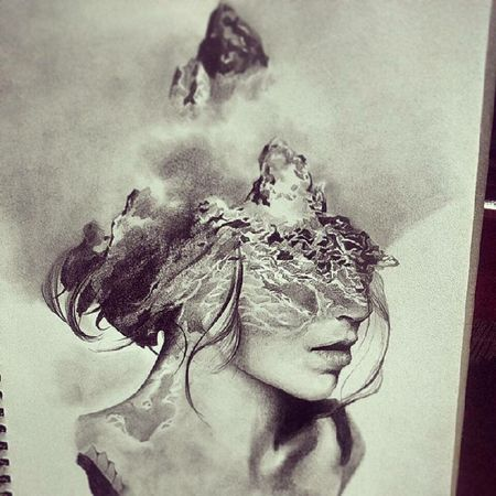 An old work of me Drawing Graphite Art Pencil Drawing Pencilart Blackandwhite Oldie  Double Exposure Girl Profile Drawingoftheday