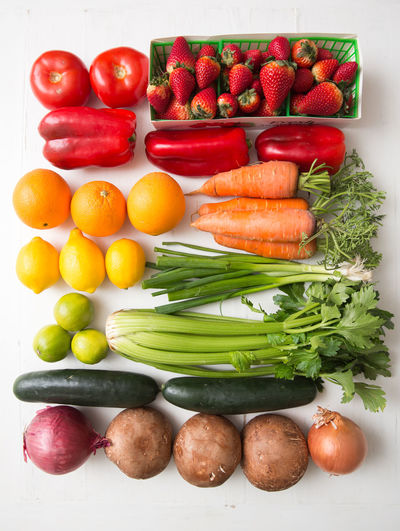 Fruits and vegetables on tomatoes