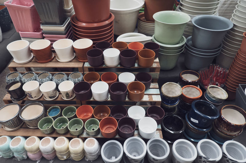 High angle view of various objects for sale at market stall