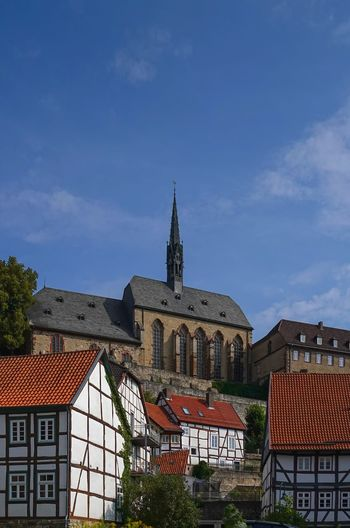 Blick Dominikaner Kloster Häuser Am Berg Architecture Belief Blue Building Building Exterior Built Structure City Cloud - Sky Day Nature No People Outdoors Place Of Worship Religion Roof Sky Spire  Spirituality Tower Warburg Altstadt