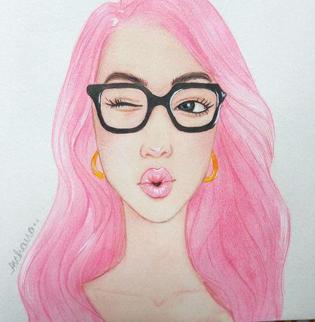 Girl Portrait Portrait Sketching ☺ Cartoon Effect  ArtWork Art Watercolor Pink Hair