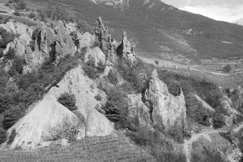 Black & White Black And White Blackandwhite Rock Formation Rock - Object Salgesch Wallis Mountain Outdoors Day High Angle View Nature Sunlight No People Landscape Scenics Beauty In Nature