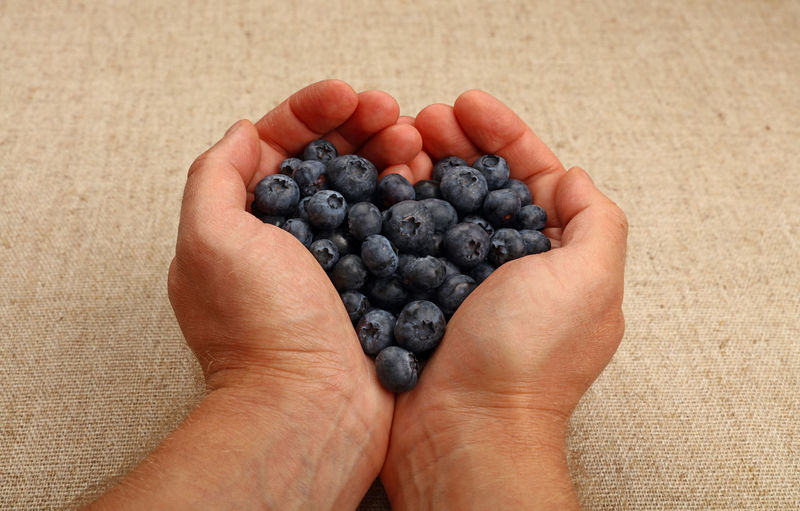 Cropped image of man holding blueberries