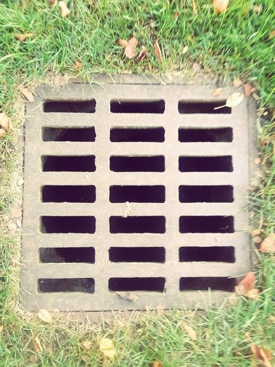 grate and grass Stone Metal Grate Sewage Gutter Manhole  Field Sewer High Angle View Directly Above Grass Dirt Grate Drain Grass Area Lawn