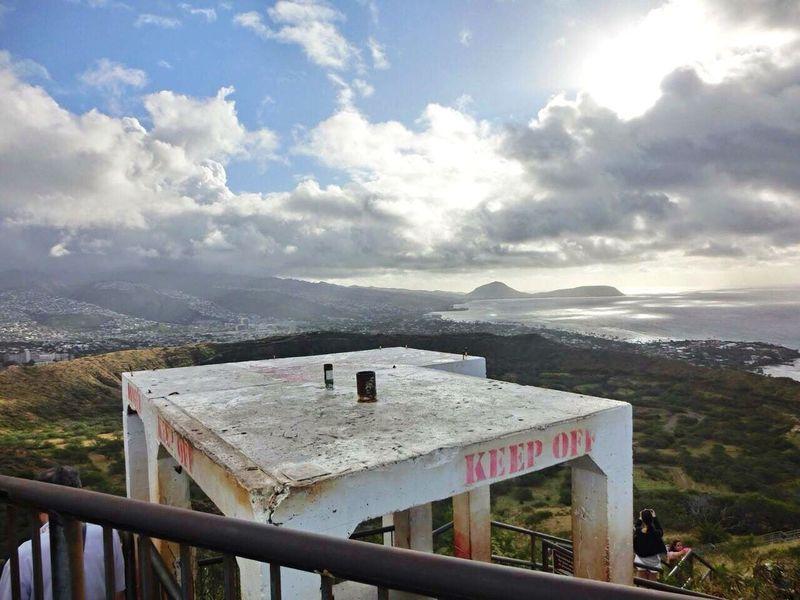 Cloud - Sky Mountain Sky No People Day Railing Outdoors Scenics Beauty In Nature Nature Telescope Architecture Traveling Diamondhead Topofthemountain Hawaii ❤✌