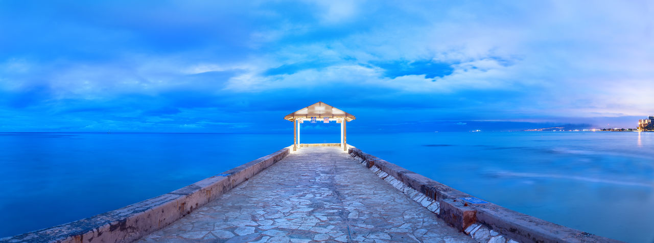 Honolulu Blues Blue Sea EyeEmNewHere Pier Tranquility Architecture Beauty In Nature Blue Blue Sky Blue Water Built Structure Cloud - Sky Direction Horizon Horizon Over Water Idyllic Nature No People Outdoors Pier Scenics - Nature Sea Sky Tranquil Scene Tranquility Water