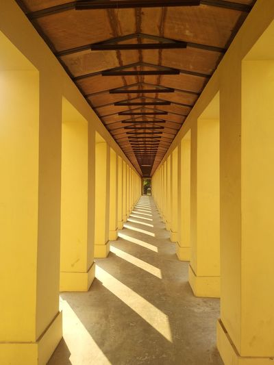 EyeEmNewHere A New Perspective on Life Detail Architectural Detail Architecturelovers Redmi 5 Shadows & Lights India Built Structure Continuity Direction Way Forward Wood Light Pattern, Texture, Shape And Form City Yellow Shadow Architectural Column Corridor Architecture Built Structure
