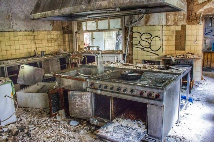 Kitchen... Or what is left of it Abandoned Kitchen Lost Places Urbex Photography Decay Lost Exploring Abandoned Hotel Canonphotography EyeEm Abandoned Germany Tadaa Community Urbexphotography smell was unbearable Urban Exploration Taking Photos Abandoned Buildings