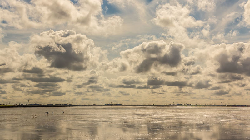 Beauty In Nature Cloud - Sky Clouds Day Dramatic Landscape Nature North Sea Northsea Outdoors People Reflection Reflections Scenics Sky Tranquil Scene Tranquility Waddensea Walking Water