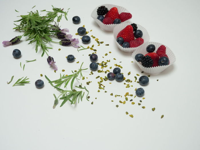 High angle view of berries on table against white background