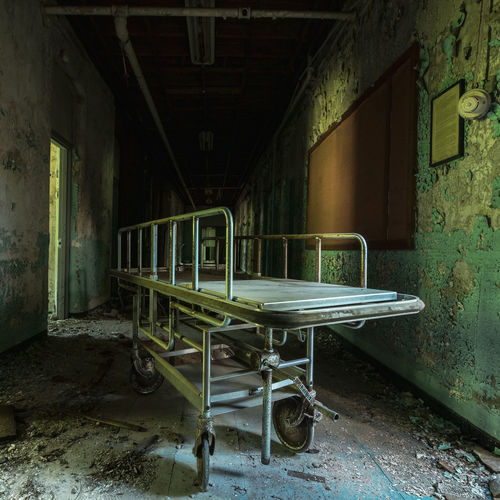 Empty seats in abandoned building
