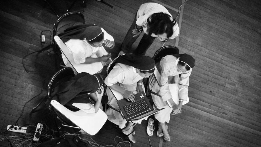 Nuns on studying Taking Photos Blackandwhite Photography Black And White Family Human Interest Eye4photography  Humaninterest Humaninterestphotography Black And White Photography Blackandwhitephoto