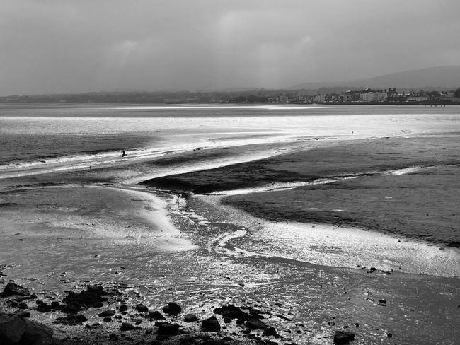 Back to basics. IPhone X Black And White Blackandwhite Beach Sea Water Sand Nature Beauty In Nature Sky Outdoors Low Tide Scenics Day