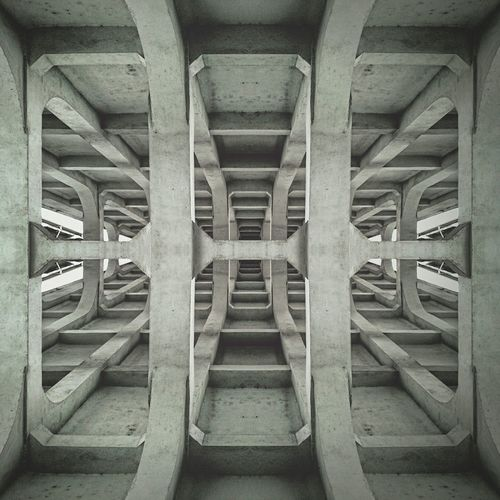 Directly below shot of concrete structure