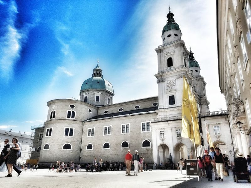 Architecture Built Structure Building Exterior Tourism Travel Destinations Sky Tourist Façade Vacations Blue Tower Outdoors Wanderlust Photooftheday Salzburg People Walking  Austria City Life