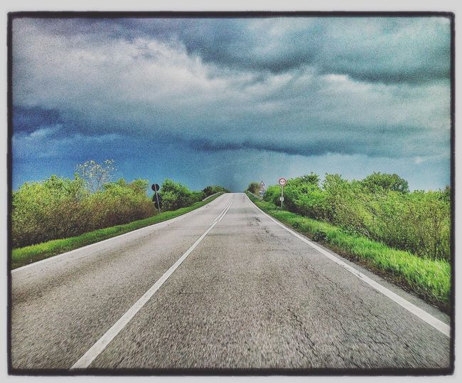 Road The Way Forward Diminishing Perspective Cloud - Sky Day Sky Transportation