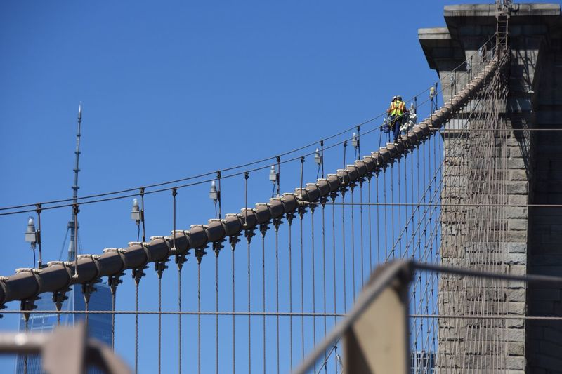 Low angle view of construction workers on brooklyn bridge