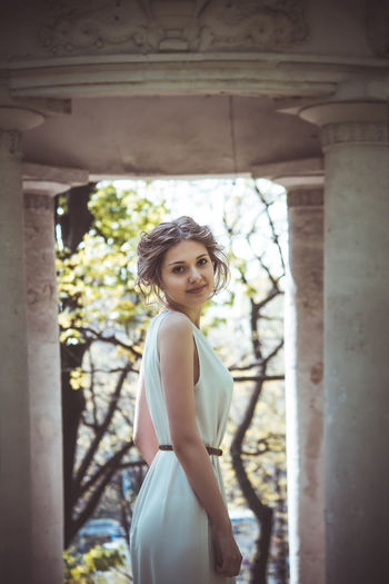 Adult Adults Only Beautiful People Beautiful Woman Beauty Bride Day Looking At Camera One Person One Woman Only One Young Woman Only Only Women Outdoors People Portrait Smiling Standing Wedding Dress Young Adult