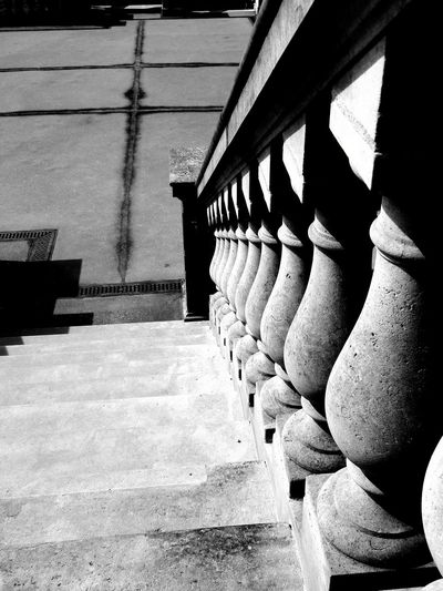 downstairs Stairway Stairs Potsdam Park Sanssouci Historic Historical Building Blackandwhite Stone Material Atmospheric Mood Backgrounds Still Life Structures Shadows & Lights EyeEm Best Shots EyeEm Selects EyeEmBestPics EyeEm Best Shots - Black + White EyeEm Masterclass monochrome photography Sunlight Architecture Built Structure Close-up Repetition Architectural Column Shadow In A Row LINE Conformity Historic Passage