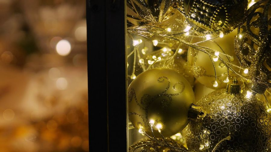 Decoration Christmas Illuminated Christmas Decoration Christmas Lights Holiday Holiday Moments Celebration Glass - Material Close-up Night Window christmas tree Christmas Ornament Focus On Foreground Holiday - Event Transparent Reflection Glass
