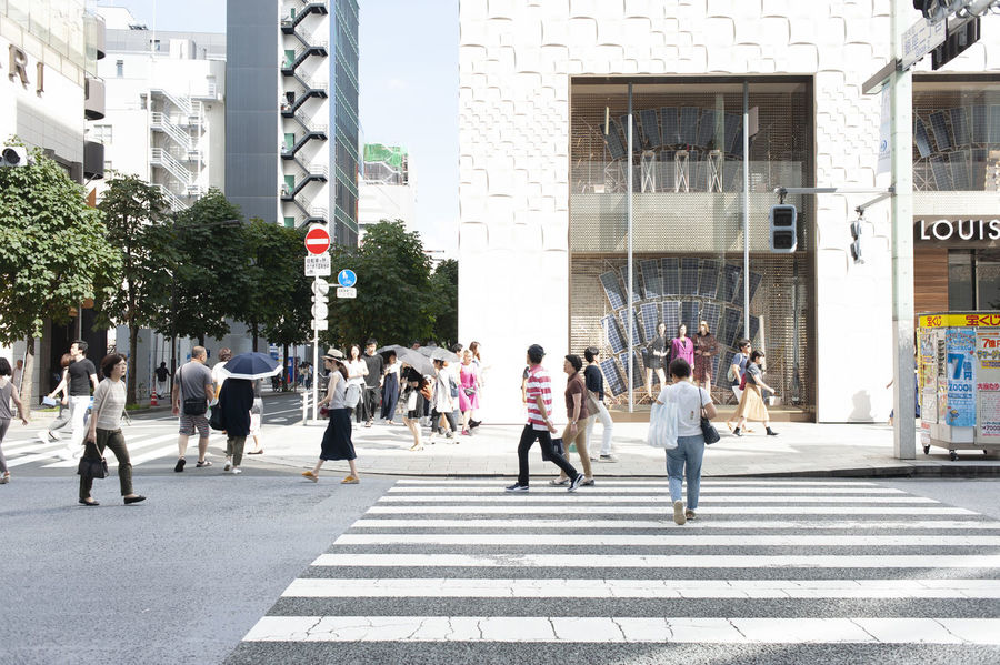Cityscape Ginza Tokyo Japan Architecture Building Exterior Built Structure City City Life City Street Crossing Crosswalk Day Group Of People Outdoors Real People Road Street Walking