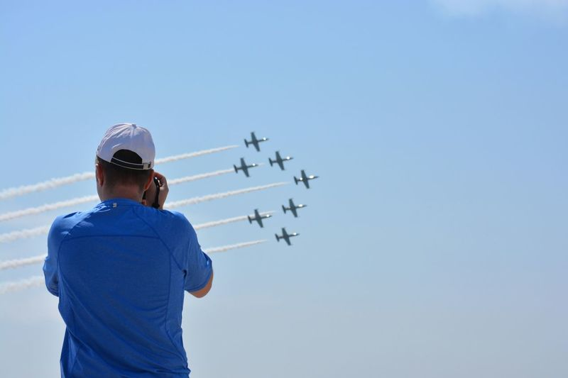 Plane spotting Sunshine Enjoying The Sun Air Show Taking Photos Airplane Aircraft Airshow Formation Planes Nikonphotography Nikon Jones Beach New York Blue Sky Blue Taking Photos Of People Taking Photos Taking Pictures No Faces