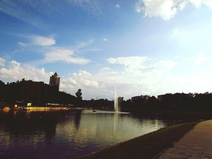 Дубравенка Могилев река фантан лето вода отдых