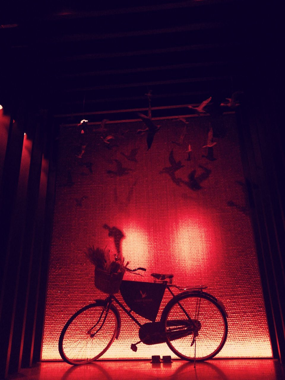 night, illuminated, indoors, transportation, bicycle, no people