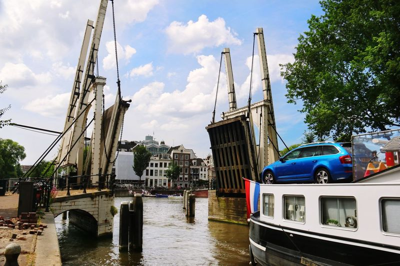 Bascule bridge over river