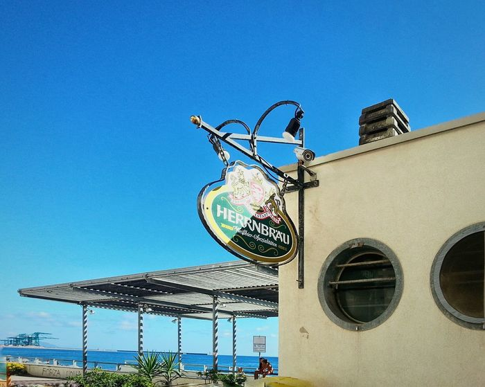 Beach Bar Outdoors Clear Sky Bar Sign Beer Logo Low Angle View Built Structure No People Sky Building Exterior Day Smartphone Photography Note 2 Android Photography Veranda Terrace
